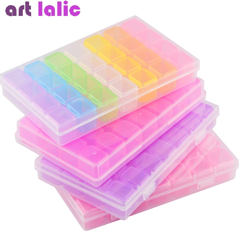 28 Slots Clear Rainbow Nail Art Glitter Rhinestone Storage Case Nail Decoration Plastic Box Jewelry Display Container Organizer