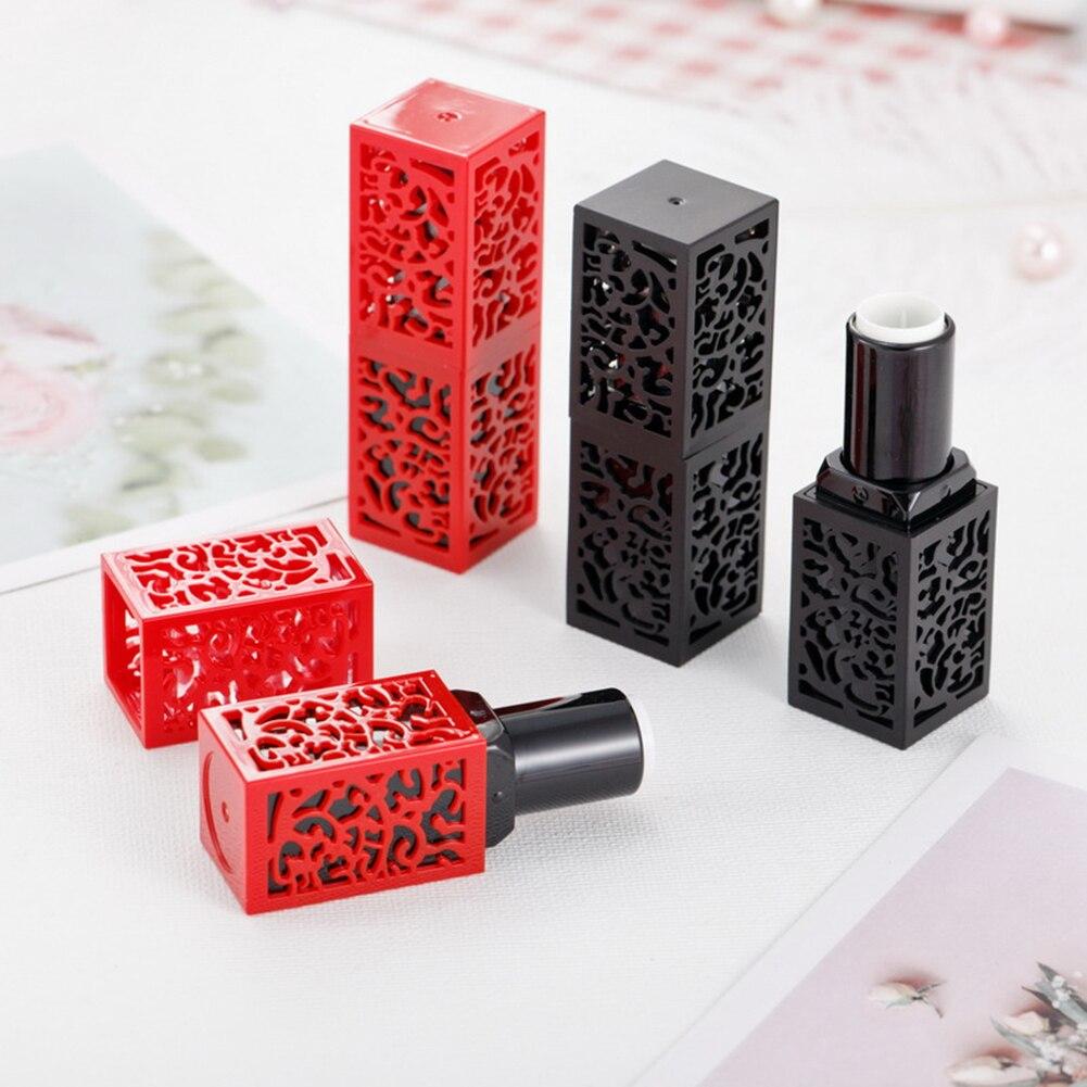 Envases cosméticos vacíos tubo de lápiz labial con tubos de lápiz labial huecos negros y rojos DIY frascos de crema de 12,1mm embalaje cosmético
