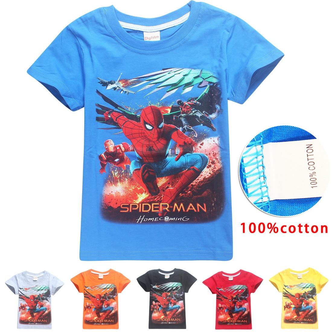 Batman v Superman Movies Printing Boys Clothes Spider-man Short Sleeve t shirt T-Shirts For Boys Kids Baby Children's Clothing