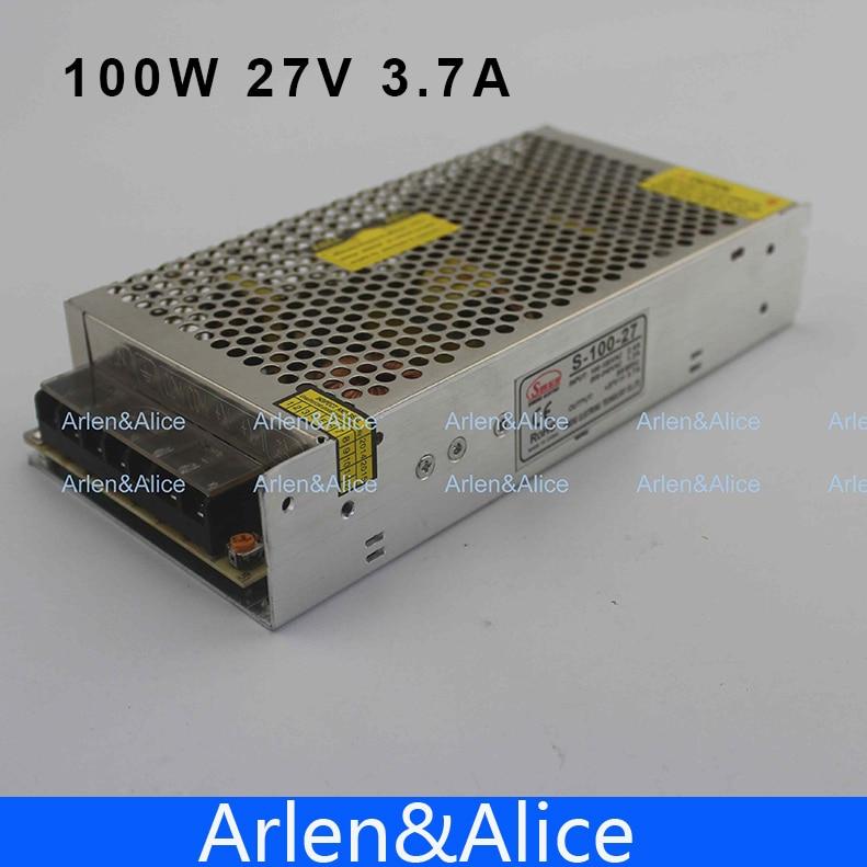 100 w 27 v 3.7a única fonte de alimentação de comutação da saída para a luz de tira conduzida