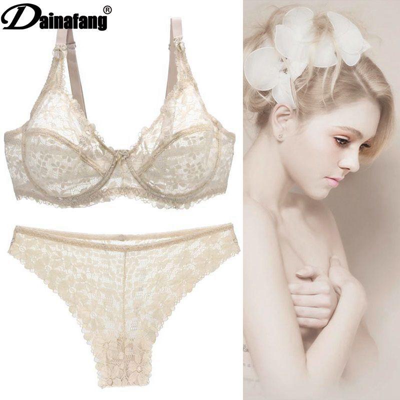 Large size bra set sexy underwear set female bra lace side breathable ultra-thin bra set multi-color optional steel ring enlarge