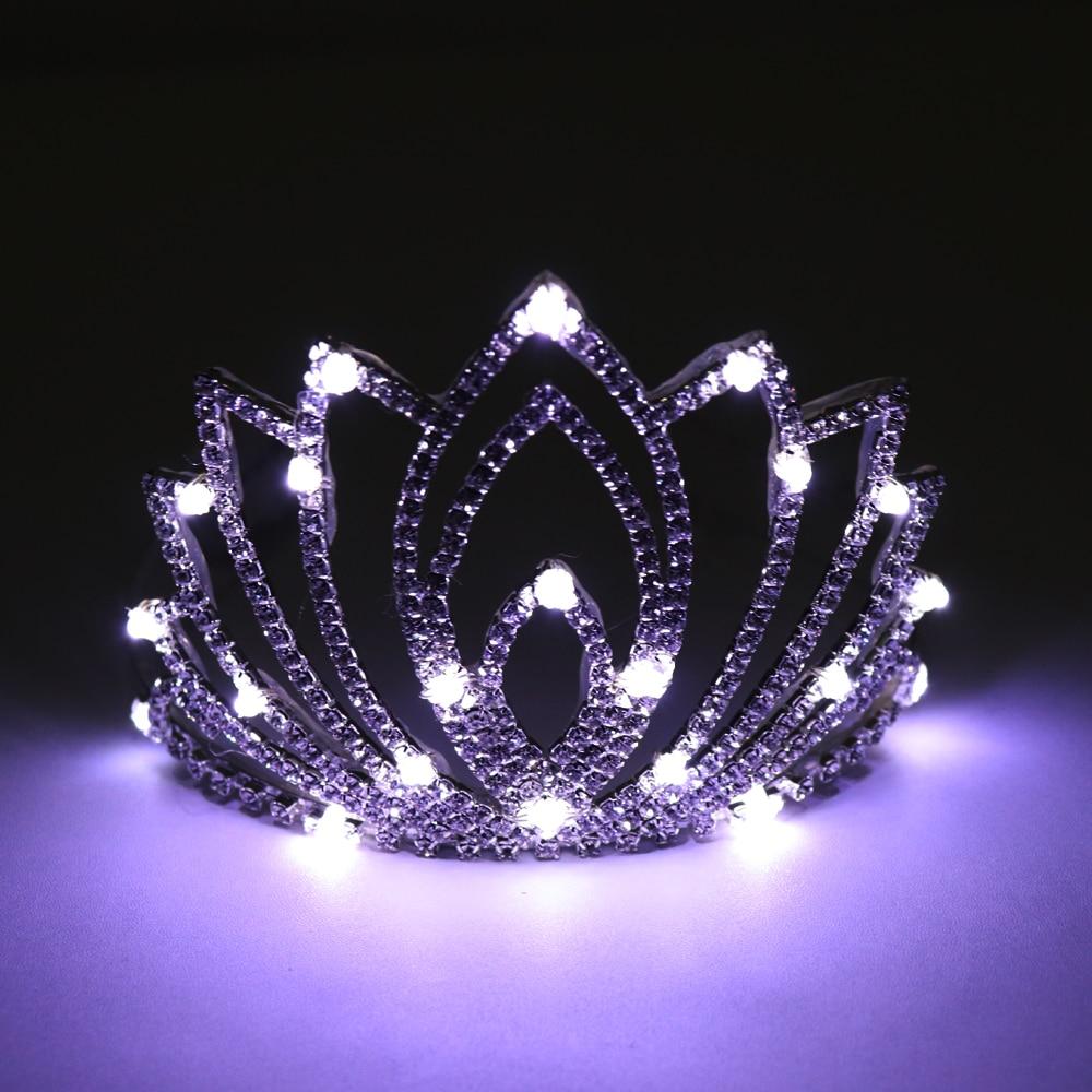 Big Baroque LED Tiara Women Crystal Floral Headdress Rhinestone Light Crowns Wedding Hair Accessories