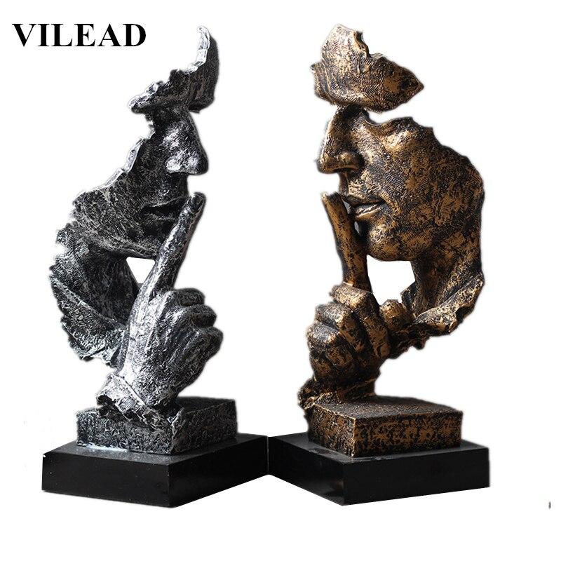 VILEAD 32cm שרף שתיקה שווה זהב מסכת פסל מופשט קישוטי פסלונים מסכת פיסול מלאכת עבור משרד Vintage בית תפאורה