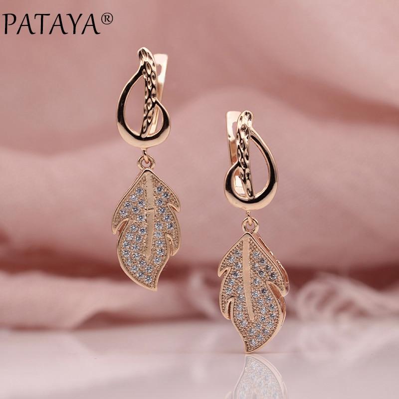 PATAYA Neue Frauen Hochzeit Luxus Lewelry 585 Rose Gold Leaf Micro Wachs Inlay Natürliche Zirkon Lange Unregelmäßige Baumeln Ohrringe