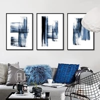 simple blue brush color block combination abstract decor painting nordic home art poster canvas wall pictures for living room