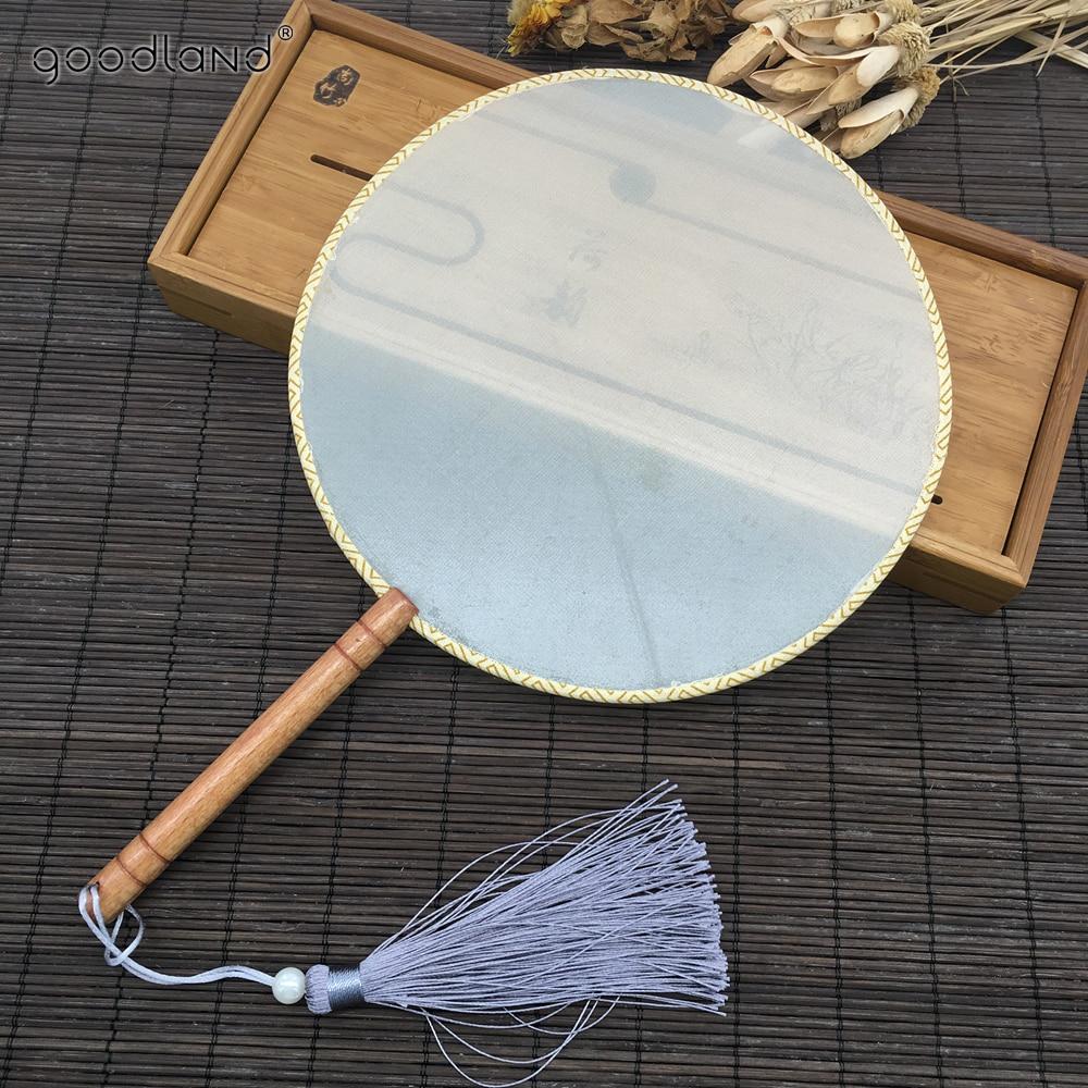 Envío Gratis, 1 Uds., mango de madera de haya para manualidades, abanico blanco de seda en blanco para decoración del hogar, regalo de Arte de verano