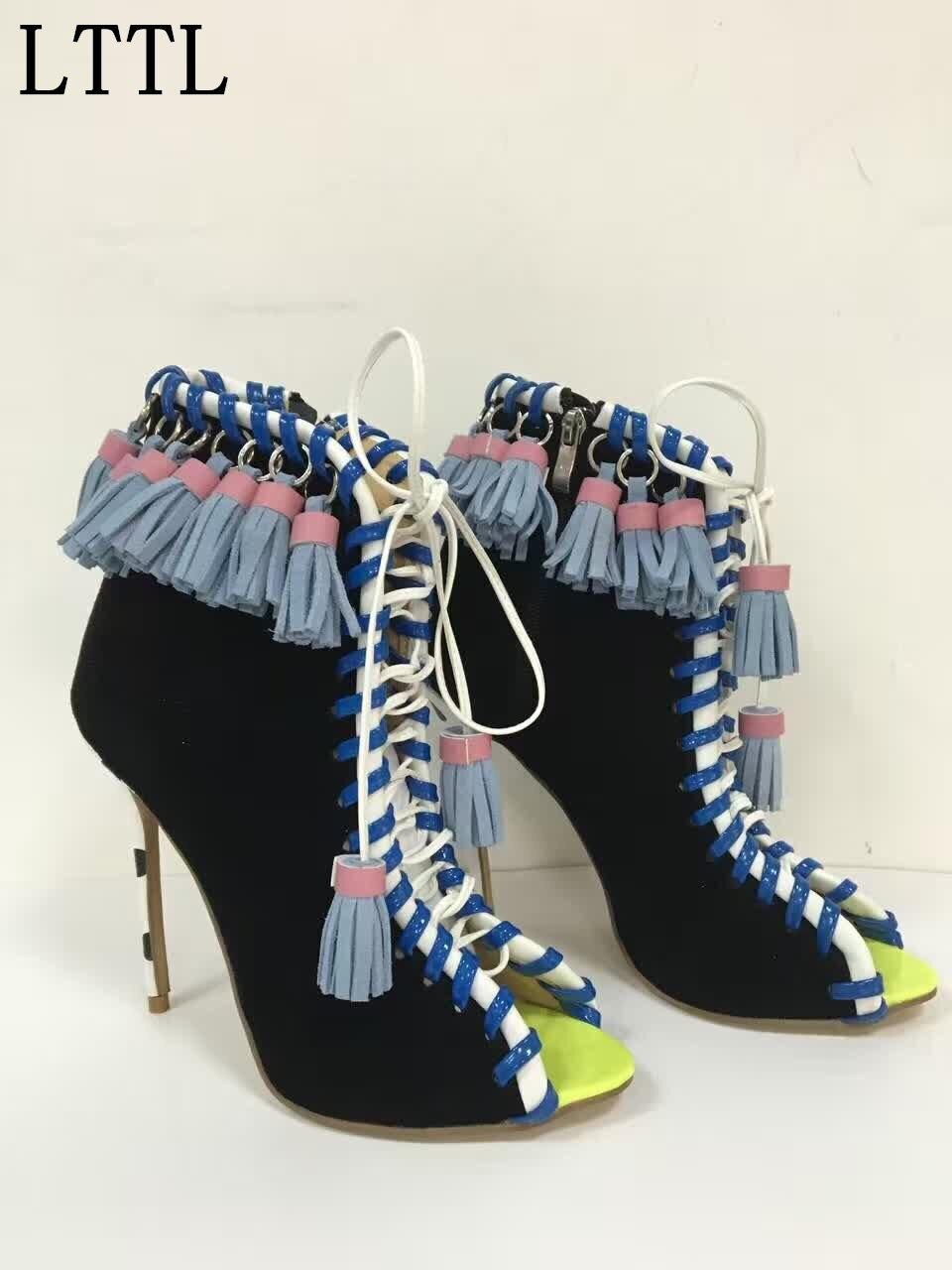 Primavera Outono de Comércio exterior de Couro Genuíno Lace-up Tassel escavar Sapatos Boca de Peixe de Alta-salto alto Mulheres Tornozelo botas