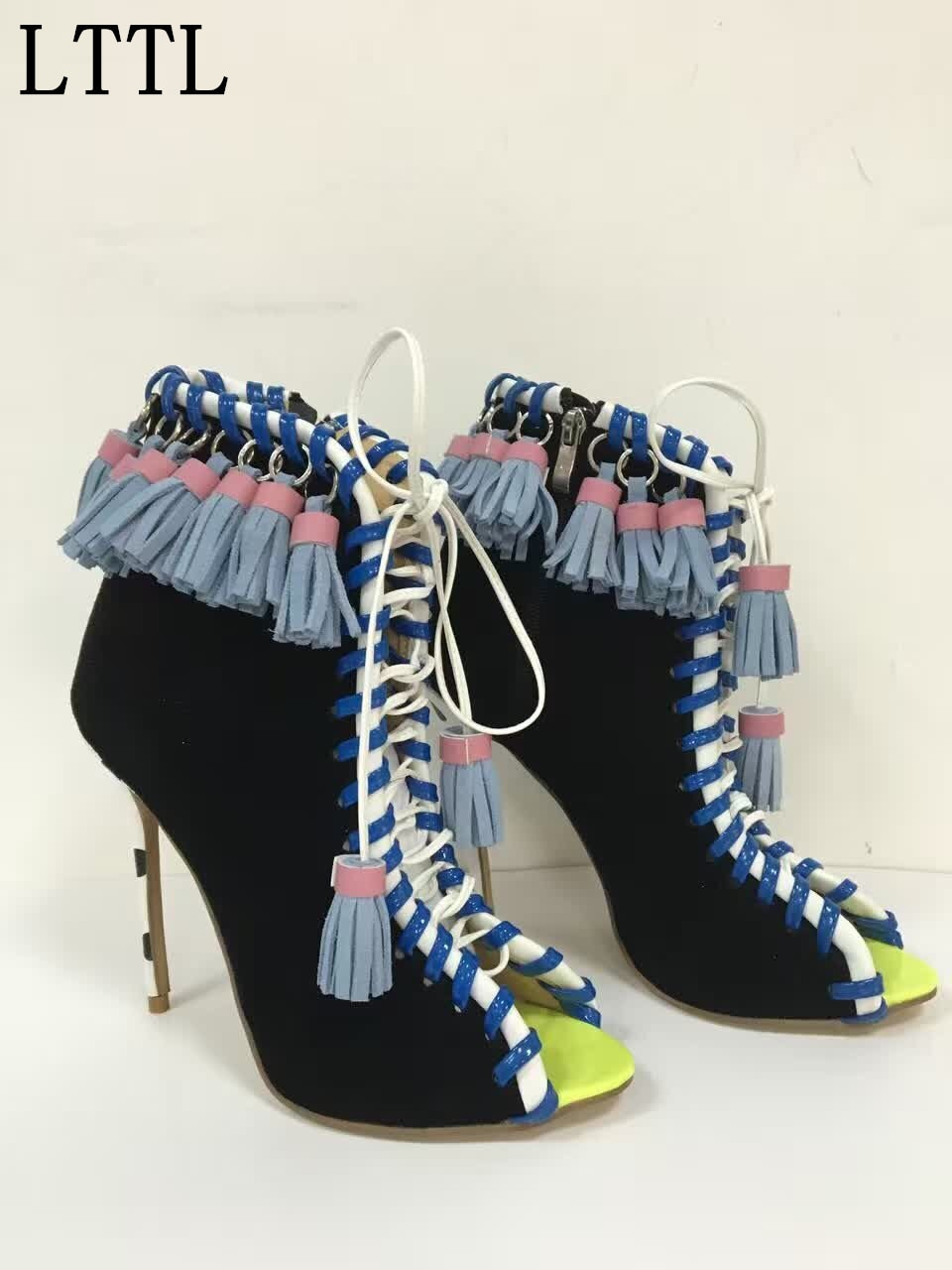 Primavera otoño Comercio exterior cuero genuino encaje-up borla pescado boca ahueca hacia fuera zapatos de tacón alto mujeres tobillo botas