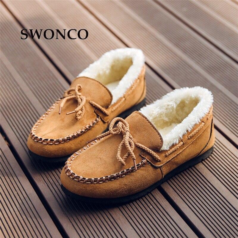 Zapatos de mujer SWONCO, mocasines de estilo coreano de felpa gruesa, zapatos cálidos de invierno 2018, zapatos planos de invierno para mujer, calzado para mujer