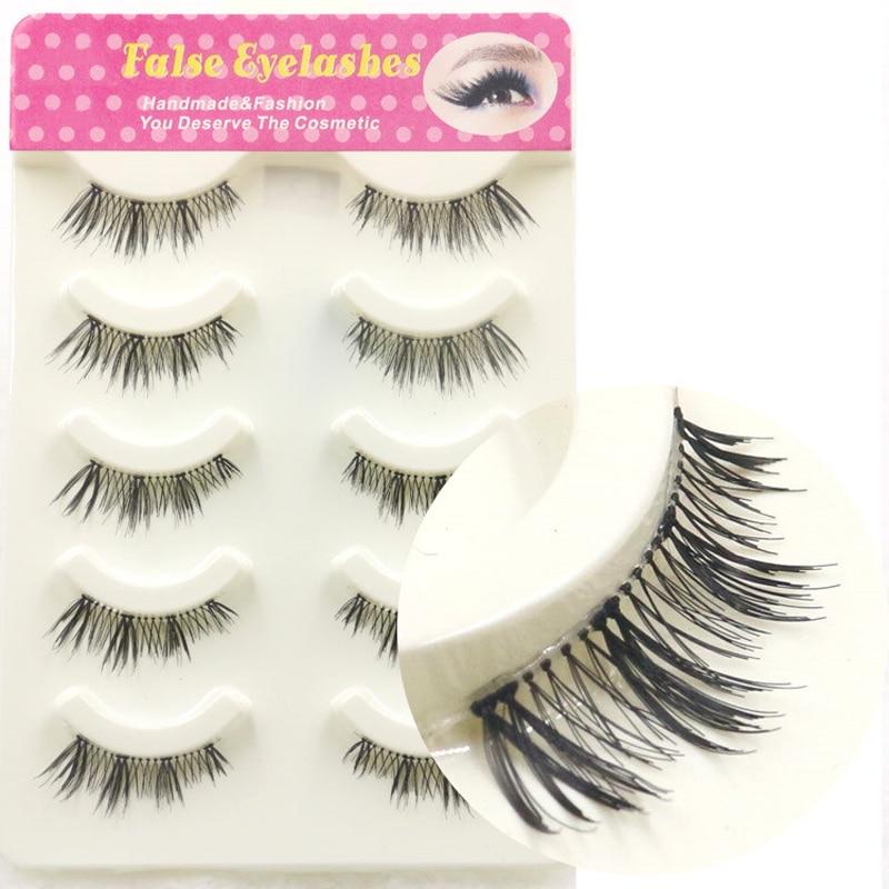 YOKPN 5 Pairs Fake Eyelashes Handmade Half False Eyelashes Qualtiy Fiber Makeup Lashes Natural Soft Eye Lashes Extension Tools