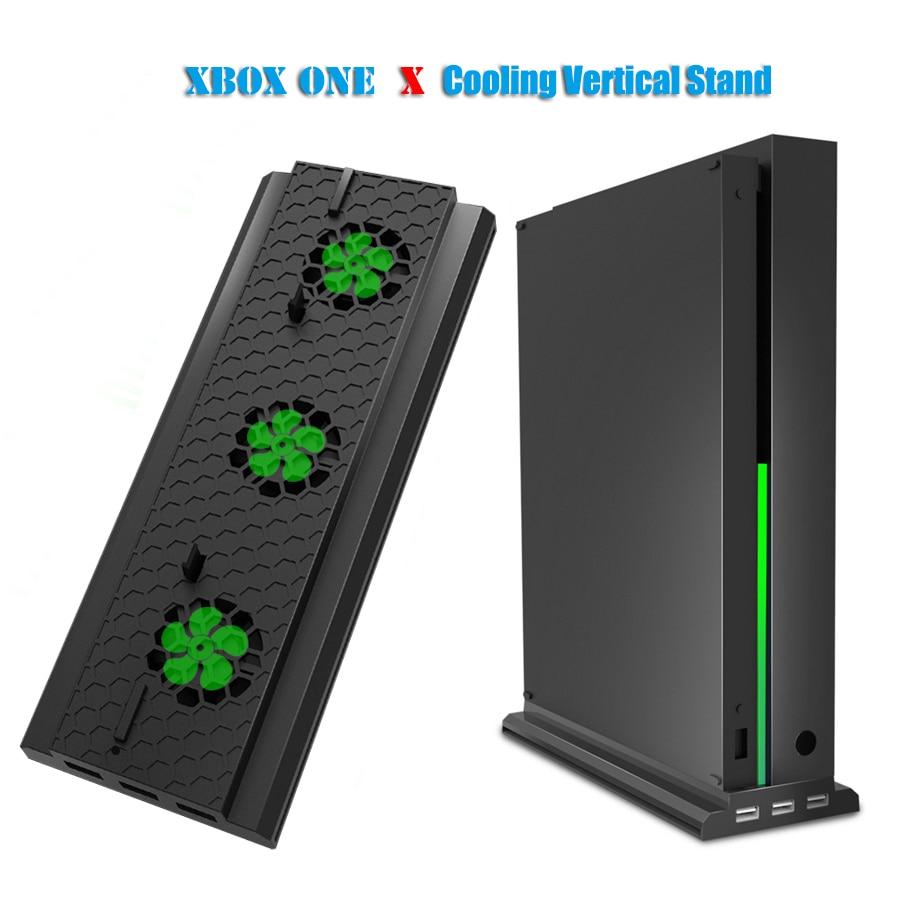 Suporte vertical com suporte de ventilador de refrigeração para xbox um x, console dock station titular cooler com 3 portas usb para xbox acessórios