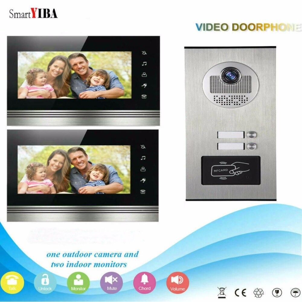 SmartYIBA, seguridad en el hogar, Monitor de 7 pulgadas, timbre de puerta de teléfono, intercomunicador RFID, sistema de cámara de Control de acceso para 2 apartamentos