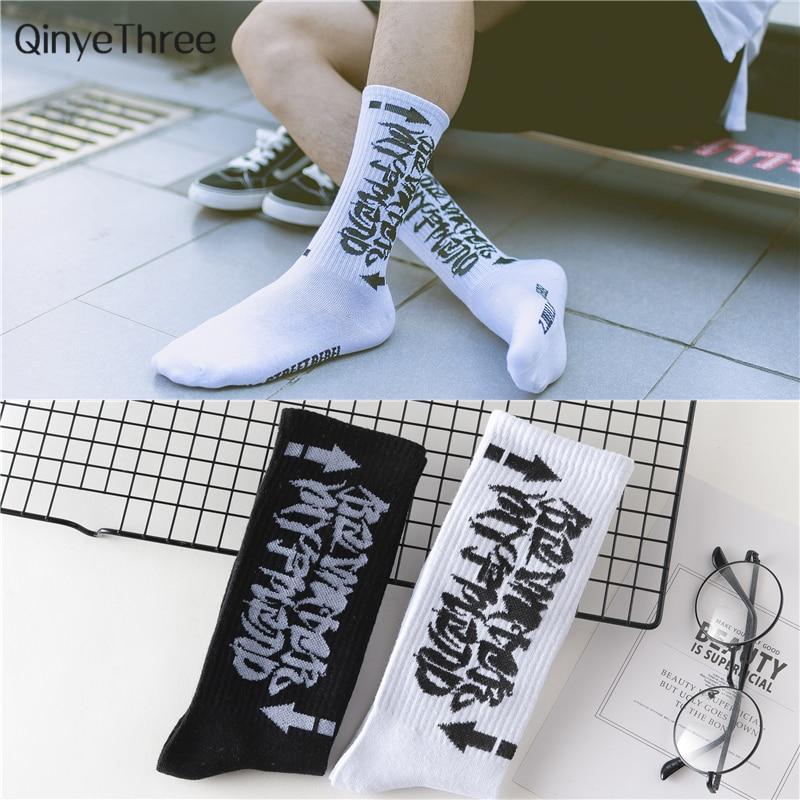 Harajuku men's humor words printing socks Ulzzang Hip hop street skateboard Unisex Crew Lovers' Happy socks dropship 2pcs=1pair