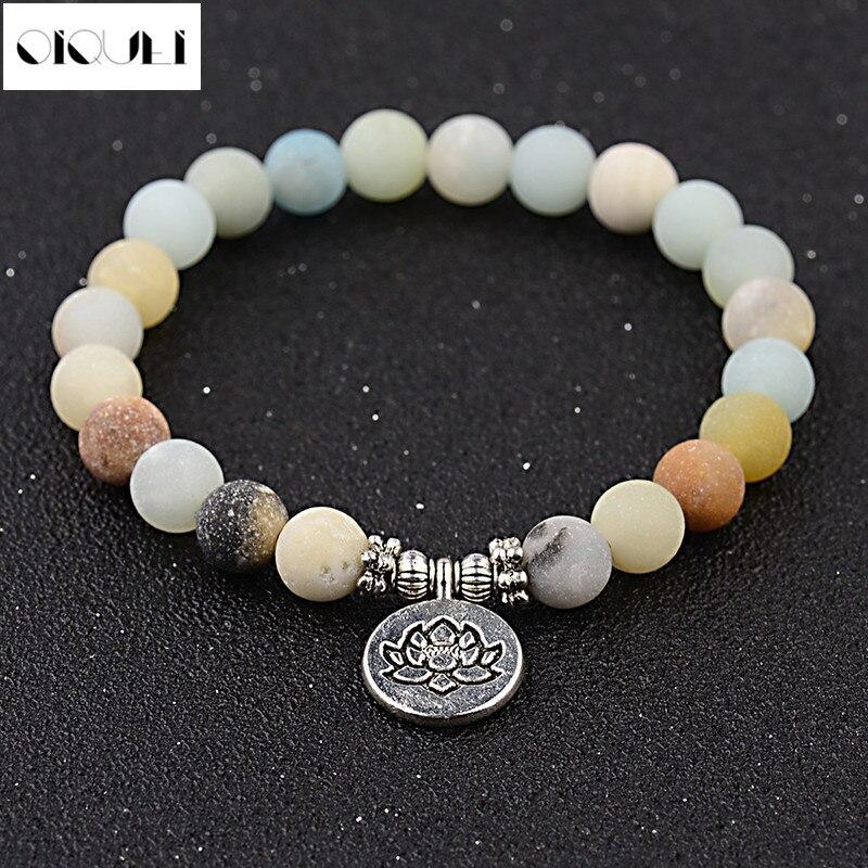OIQUEI Charm Amazonite Stone Strand Bracelets For Women Men Fashion Angel Wing Lotus Buddha Chakra Mala OM Lotus Bracelet Femme