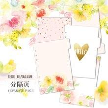 Yeni bahar çiçek serisi ayırıcı sayfa çekirdek spiral defter, sevimli dizin kağıt/dizin kağıt hafta planlayıcısı/günlüğü A5 A6
