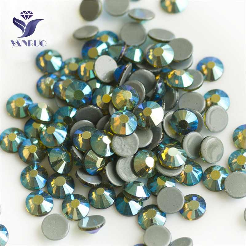 YANRUO 2058HF All Sizes Olivine AB Iron On Hot Fix Crystal Strass Hotfix Rhinestones Flatback Glass Stone For Dresses