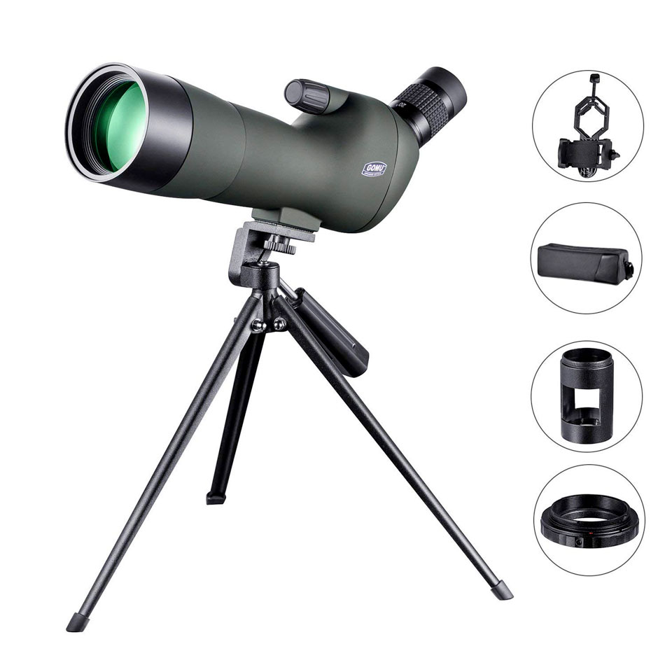 GOMU 20-60X60 telescopio monocular, impermeable, Zoom, mira de proyección, Prisma, avistaje de aves, trípode de disparo, cámara, adaptador de fotografía