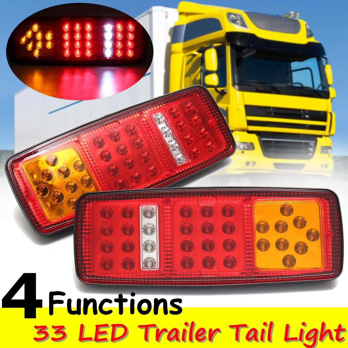 Par 12V Universal coche camión 33LED luz de freno trasero luces indicadoras de señal de giro luz trasera de marcha atrás para remolque camión autobús Van
