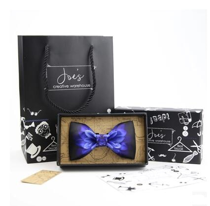 Unique Design Bow Ties with Handkerchief Fashion Charming Blue Flower Print Butterfly Men Wdding Bowties For Adult Free Boxes