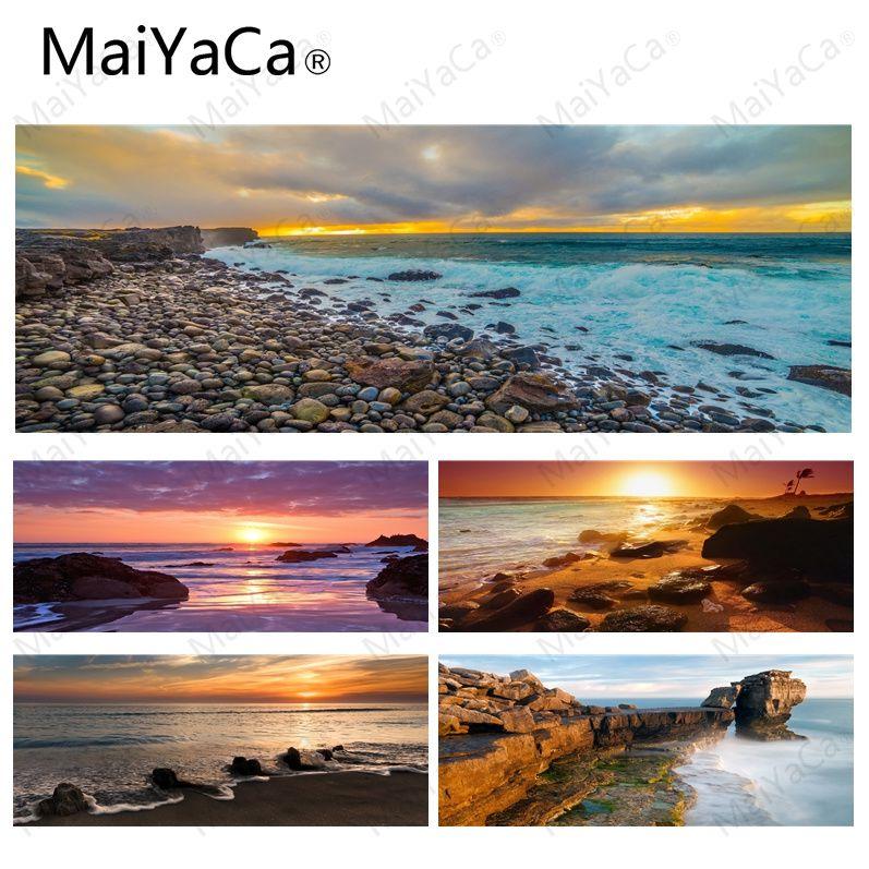 MaiYaCa nuevo diseño piedras de la costa DIY diseño patrón juego Lockedge mousepad tamaño para 30x80 cm 30x90 alfombrillas rectangulares de goma cm