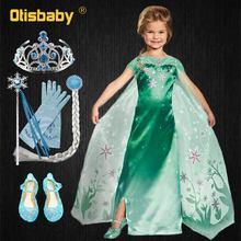 2019 Toddler Girls Summer Clothing Elsa Dress Eveving Party Carnival Halloween Elsa Costume for Girls Snow Queen Green Dress Wig