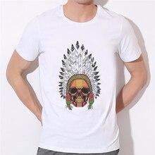 Nouveau mode célèbre marque hollistic t-shirt hommes dété style hollistic hommes T-shirt plume indien squelette hommes t-shirt W-269 #