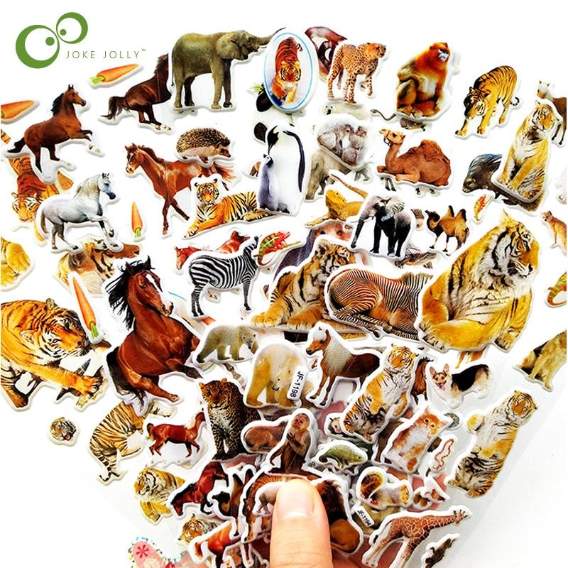 Наклейки с 3D животными, 10 листов, игрушки для детей, для скрапбукинга, телефона, ноутбука, подарки, наклейки динозавра, тигра, Льва, YYY, GYH