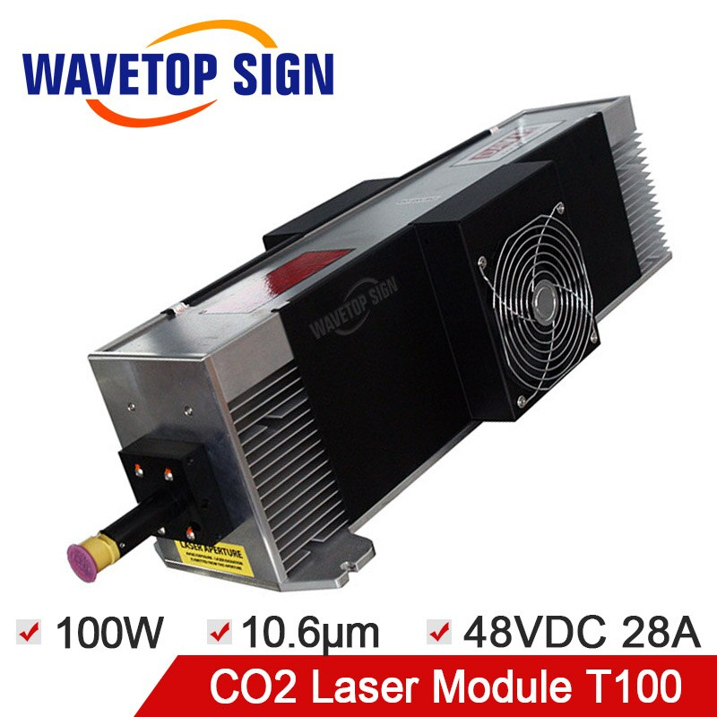 Envío Gratis, módulo láser CO2, módulo láser RF de 100W, módulo láser de longitud de onda de 100W, fuente de alimentación de entrada de 10,6 nm DC48V 28A