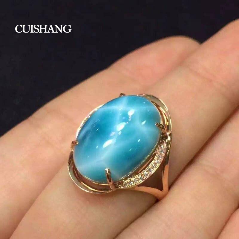 Las congregaciones Natural Larimar anillo, anillos de oro de 10K con 10ct Larimar bien joyería de la boda de compromiso bandas para las señoras de las mujeres niñas regalo