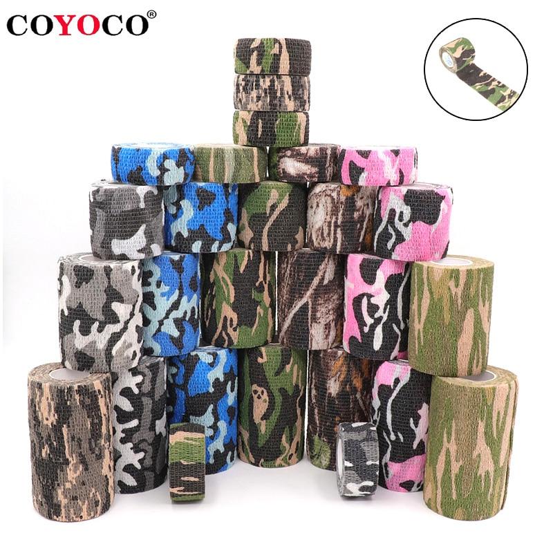 4.5m Camouflage Elastic Wrap Tape Hunt Disguise Elastoplast Self Adhesive Sports Protector Knee Fing