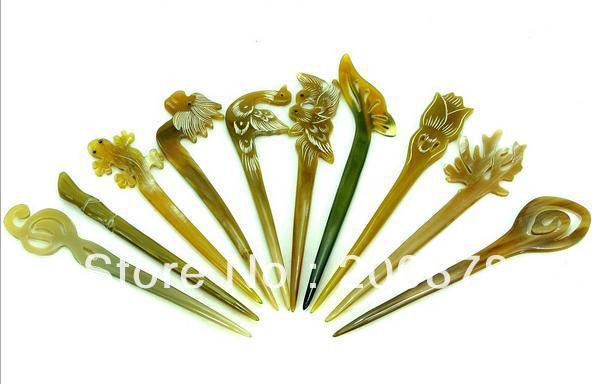 L069 hairsticks tibet yak chifre vara de cabelo esculpida animais flores hairpin mix 10 pçs lote frete grátis