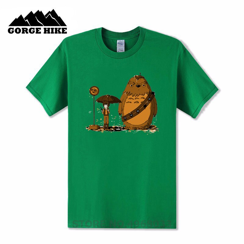 Camiseta Unisex lindo oso star wars Chewbacca My neighbor Chewie Totoro crewneck suelta adulto ropa barata camiseta Popular camisetas