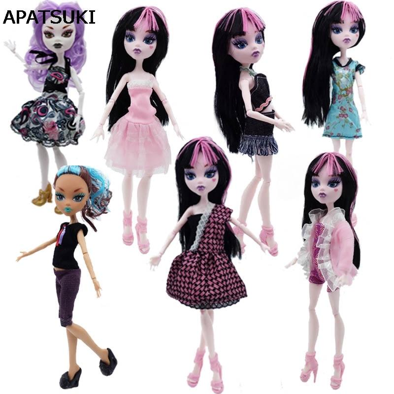 7 teile/los Mode Kleidung Für Monster High Puppen Kleid Party Kleider Vestidos Lässige Kleidung Für Monster Puppe Kind Spielzeug