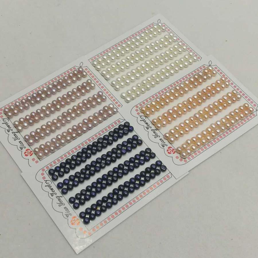Nueva venta al por mayor 100 pares de diferentes tamaños de perlas sueltas de agua dulce cuentas sueltas medio perforadas
