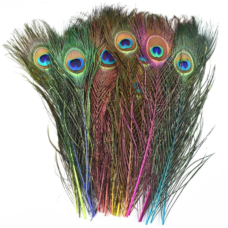 10 шт./лот, окрашивание перьев павлина для рукоделия, длина 25-30 см, 10-12 дюймов, перо павлина, сделай сам, декоративные перья фазана