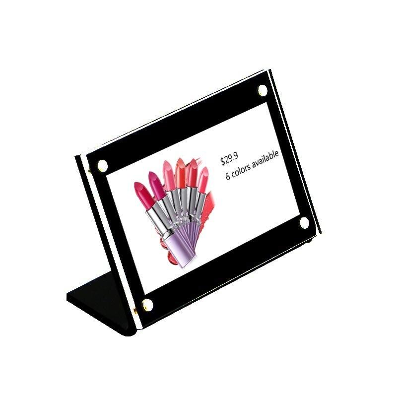 Marco de fotos acrílico negro pequeña foto de papel marco de foto mesa de escritorio soportes soporte información nombre Tarjeta de menú etiqueta de precio pantalla