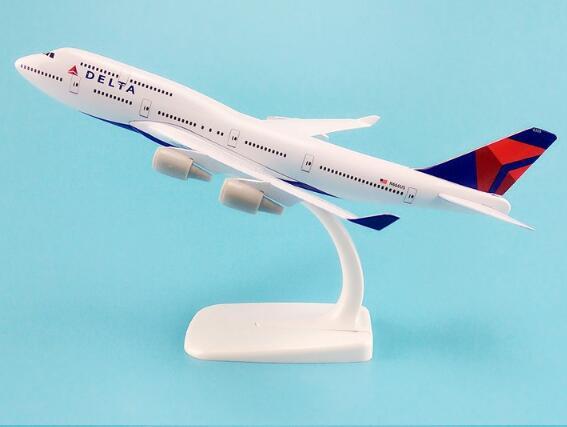 20cm liga de metal ar americano delta airways avião modelo boeing 747 b747 companhias aéreas avião modelo w suporte aeronaves presente