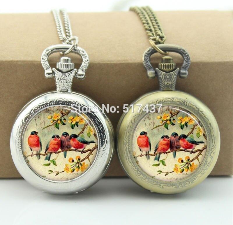 Vermelho robin pássaro relógio de bolso vivo medalhão colares vintage relógio de bolso colar