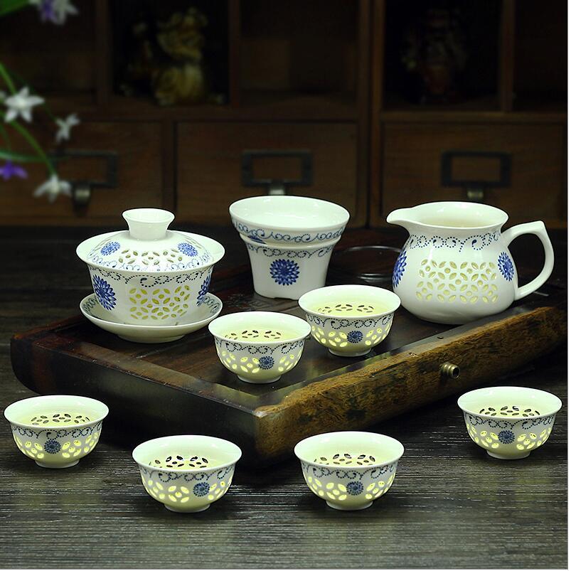 Tetera 9 Uds juego de té Kung Fu, taza de té de cerámica, tetera azul y blanca, porcelana de hueso GaiWan, Mar de té, Filte de porcelana, servicio de té