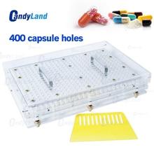 Candyland 400 구멍 수동 캡슐 작성 기계 #00 #0 #1 #2 제약 캡슐 제조 업체 diy 의학 초본 알약 powde