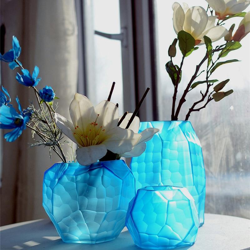 Coloured glass vase Manual grinding carved geometric vase glass terrarium Flower vases wedding home decoration accessories