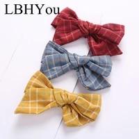 1pcs classic plaid cotton hair clipstop knot bows linen hairpins for girlsschool kids bowknot hair barettes hair accessories