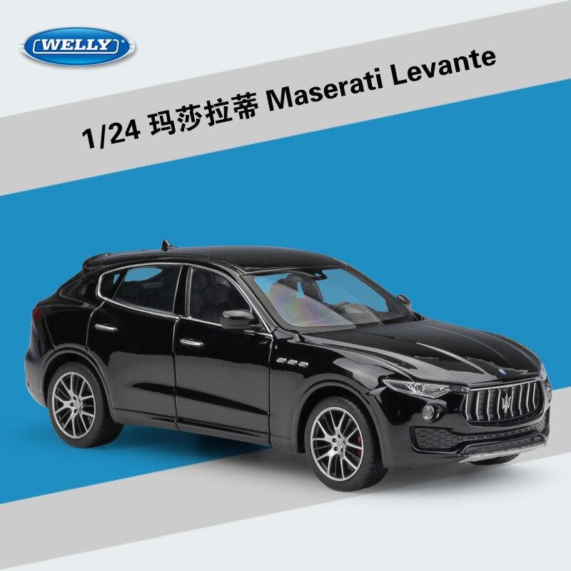 WELLY 124 escala Diecast modelo coche Maserati Levante SUV coche de juguete de Metal de aleación de coche clásico para niños juguetes de regalo colección de vehículos