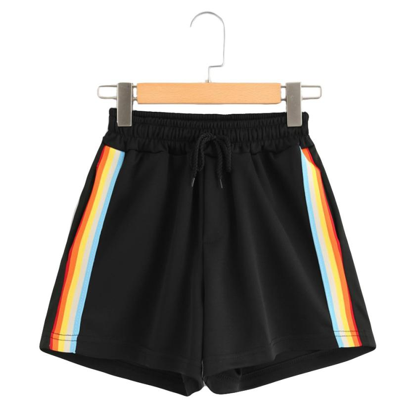 Pantalones cortos de cintura alta a rayas con cordón negro holgado Harajuku pantalones cortos de verano para mujer ropa de verano #1