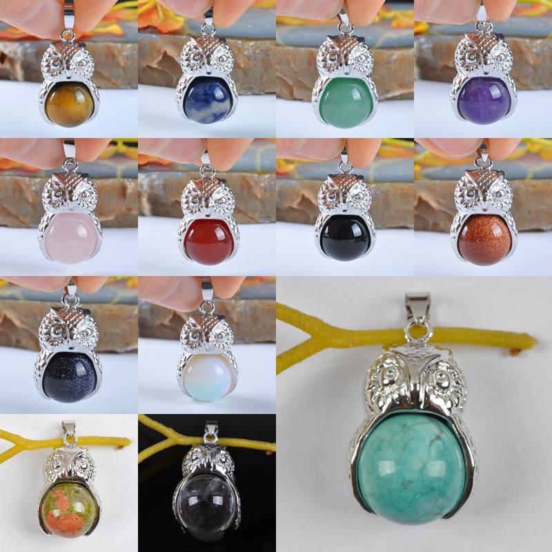 Tigereye/roxo cristal/rosa cristal/vermelho carnelian/azul arenito/opala/claro cristal de quartzo jóia pingente coruja S950-S962