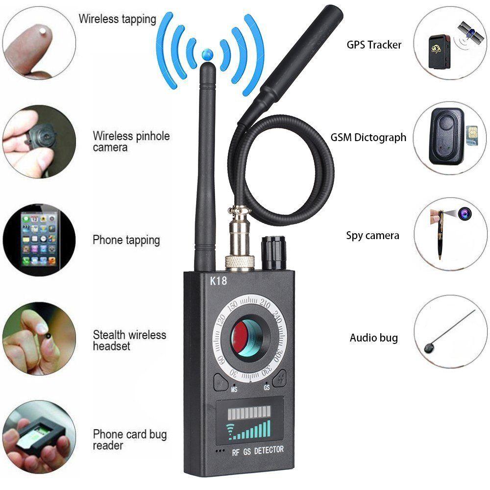 K18 متعددة الوظائف مكافحة التجسس جهاز كشف الكاميرات GSM الصوت علة مكتشف لتحديد المواقع إشارة عدسة RF المغناطيسي المقتفي كشف واي فاي مكتشف