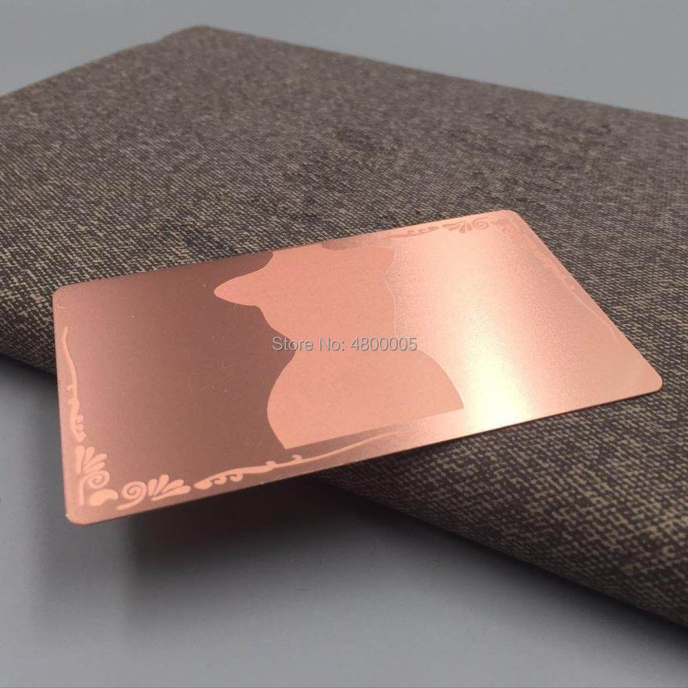 (200pcs/lot)wholesale high quality customized rose gold plated stainless steel metal mirror business card