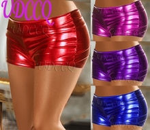 Sexy brillant métallique PVC FAUX sous-vêtements en cuir Babydoll Lingerie robe décapant shorts pantalons chauds pôle danse string