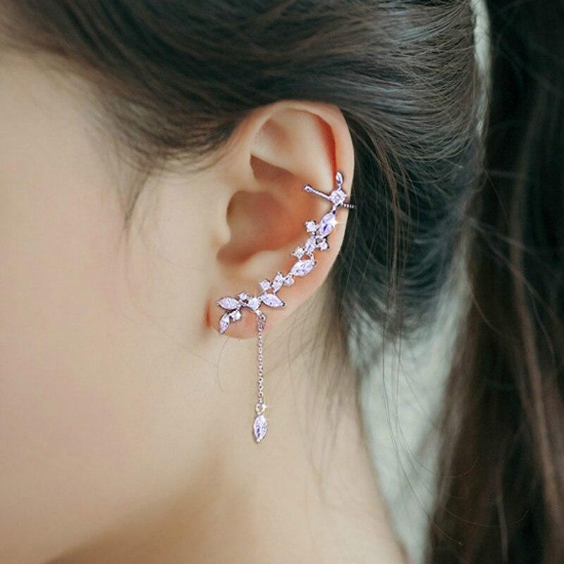 Pendientes para trepar de orejas de rama de cristal de circonita cúbica completa de 1 par, pendientes elegantes para mujer a la moda, regalo de boda, fiesta de cumpleaños