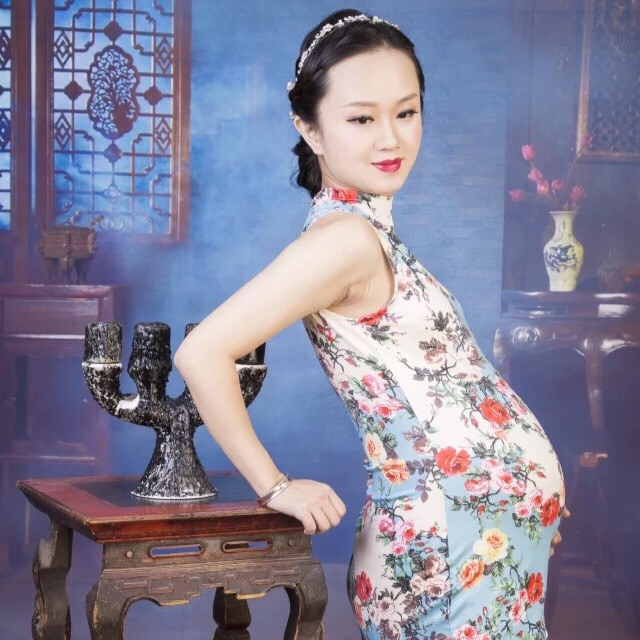 New Maternity clothing for pregnant women Photography Props Fashion Chinese Cheongsam Flower Dress Pregnancy set Photo shoot enlarge